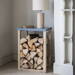 Oak Log Table - log baskets
