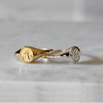 Mini Initial And Diamonds Signet Ring Solid Gold/Silver