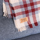 checked red and blue personalised blanket or throw