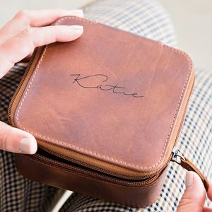 Personalised Leather Travel Jewellery Case For Her - gifts for her