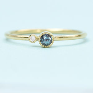 Alexandrite Stacking Ring, Diamond Accent, 18ct Gold