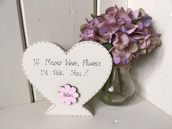 Mother/Grandmothers Flowers Personalised Wooden Heart