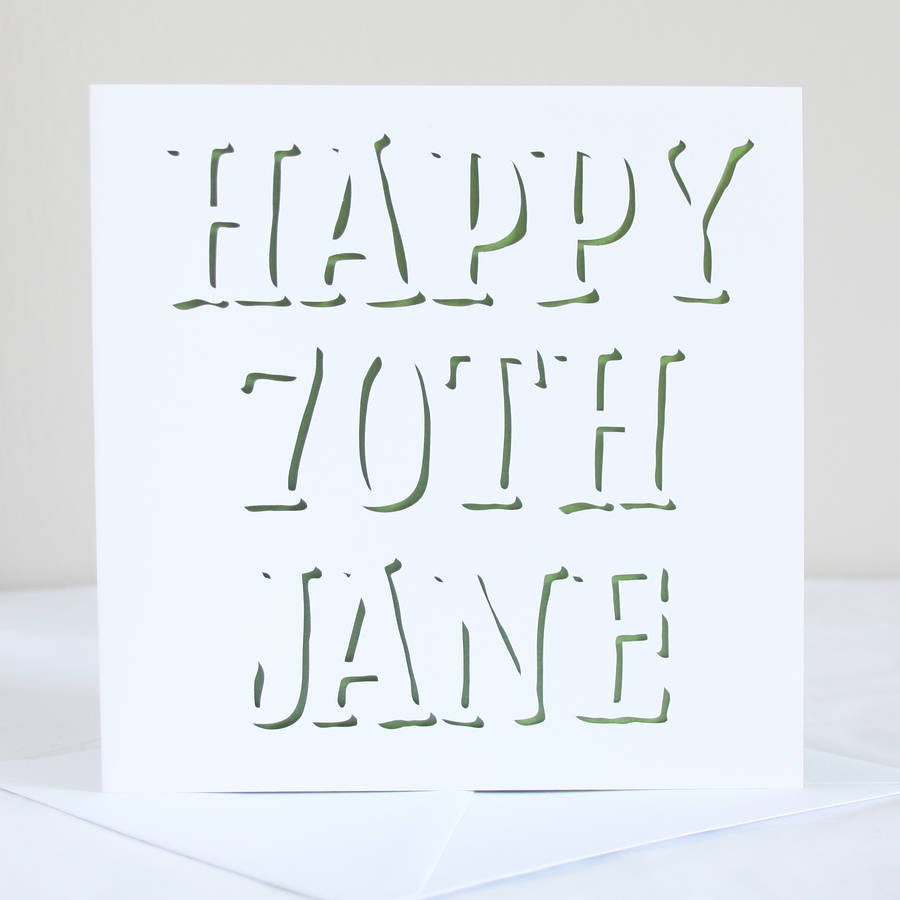 personalised 70th birthday shadow card by whole in the middle