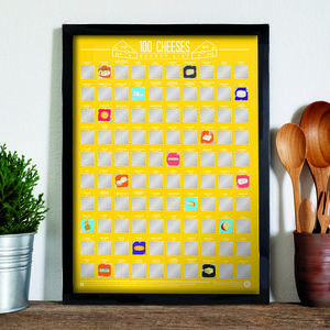 100 Cheeses Scratch Off Bucket List Poster - gifts for cheese lovers