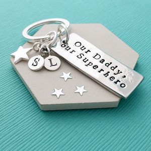 Personalised Our Daddy Our Superhero Keyring - father's day gifts