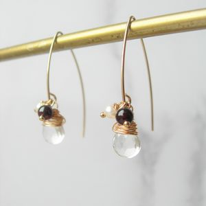 Winter Quartz, Garnet And Pearl Earrings - january birthstone