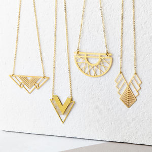 Geometric Brass Necklace Collection - necklaces & pendants