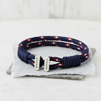 Men's Personalised Coordinate Silver And Cord Bracelet