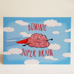 Super Brain Graduation Exam Congratulations A5 Card