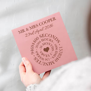 Pink Leather Anniversary Time Card