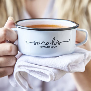 Personalised Enamel Soup Bowl - foodie gifts