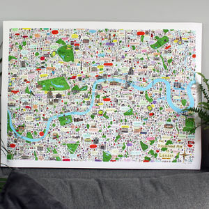 Limited Edition London Illustrated Map Print - shop by subject