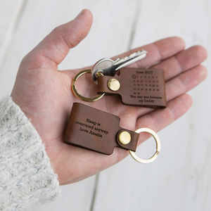 Personalised Leather 'Day You Became My…' Keyring - black friday sale