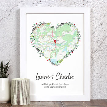 Personalised Map Print For Wedding / Engagement Etc