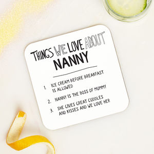 Personalised Things We Love About Nanny Grandma Coaster