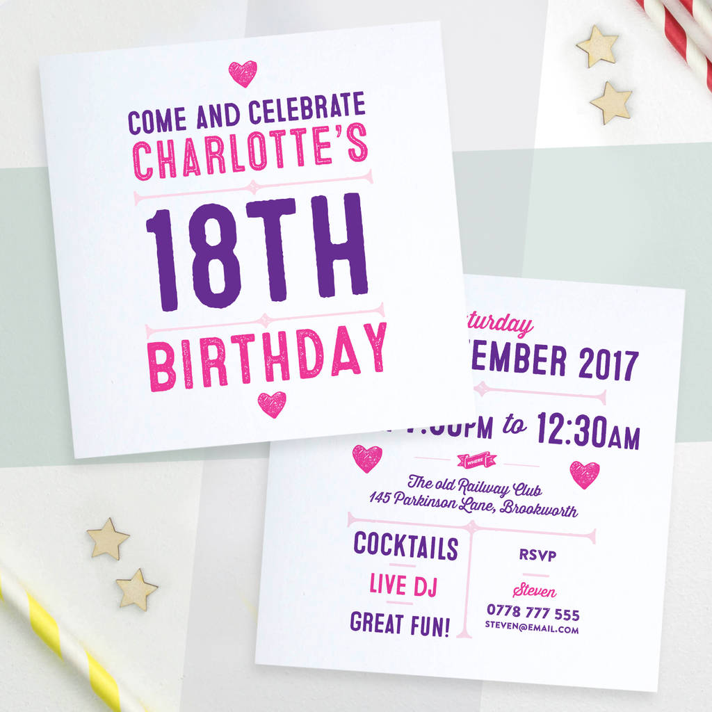 personalised party invitations double sided by a is for alphabet ...