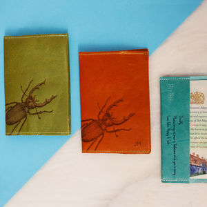Personalised Leather Passport Holder With Stag Beetle