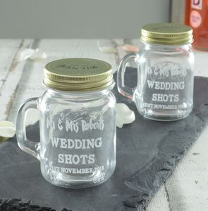 Personalised Wedding Shot Glass Set - unusual favours