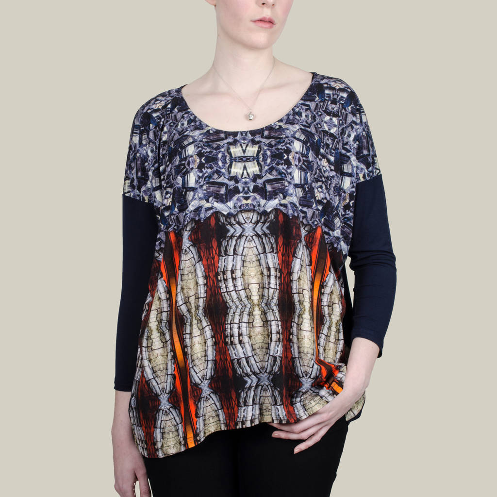 Long Top In Red Nugget Printed Jersey