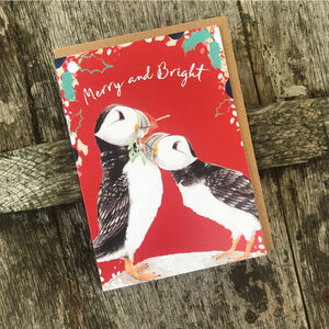 Puffins Christmas Card Blank Inside