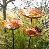 Copper Chalice Garden Bird Bath Sculpture - gifts