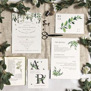 Greenery Botanical Wedding Stationery - save the date cards