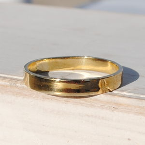 9ct Yellow Gold Flat Wedding Band - rings