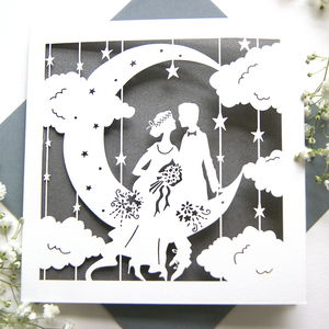 Wedding Card Paper Moon In Pewter Grey - anniversary cards