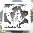 Wedding Card Paper Moon In Pewter Grey