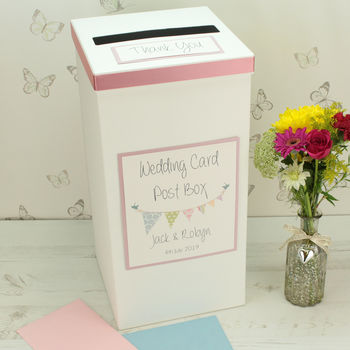 Personalised Bunting Wedding Post Box