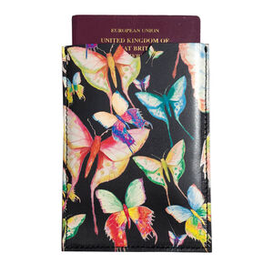 Black Butterflies Leather Passport Sleeve