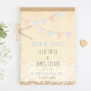 Lace Burlap And Bunting Order Of Service - order of service & programs