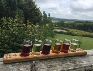 Six Wonky Shot Glasses And Oak Serving Paddle - glassware