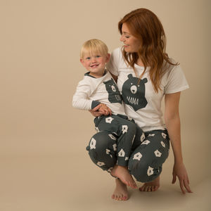 Bear Hugs Matching Mama And Cub Pyjamas With Tee - mother & child sets