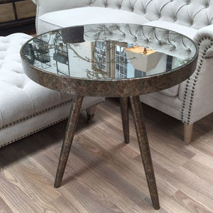 Round Mirrored Cowparsley Etched Three Leg Side Table - furniture