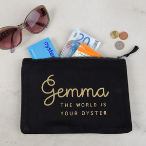 Personalised World Is Your Oyster Pouch - stocking fillers for her