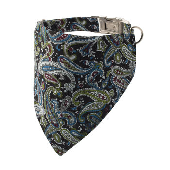 Black And Teal Paisley Bandana Dog Collar