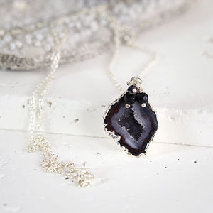 Black Geode And Diamond Silver Necklace
