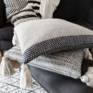 Cotton Cushion With Tassles - plain cushions