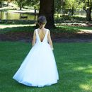 Fleur ~ Satin And Tulle Flower Girl In White Or Ivory