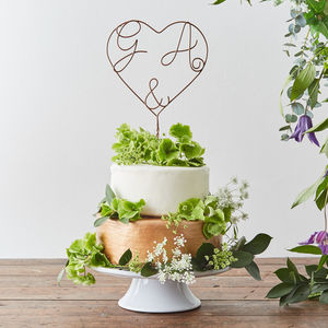 Heart And Ampersand Personalised Cake Topper - cake toppers & decorations