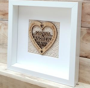 Personalised Love Story Oak Heart Artwork