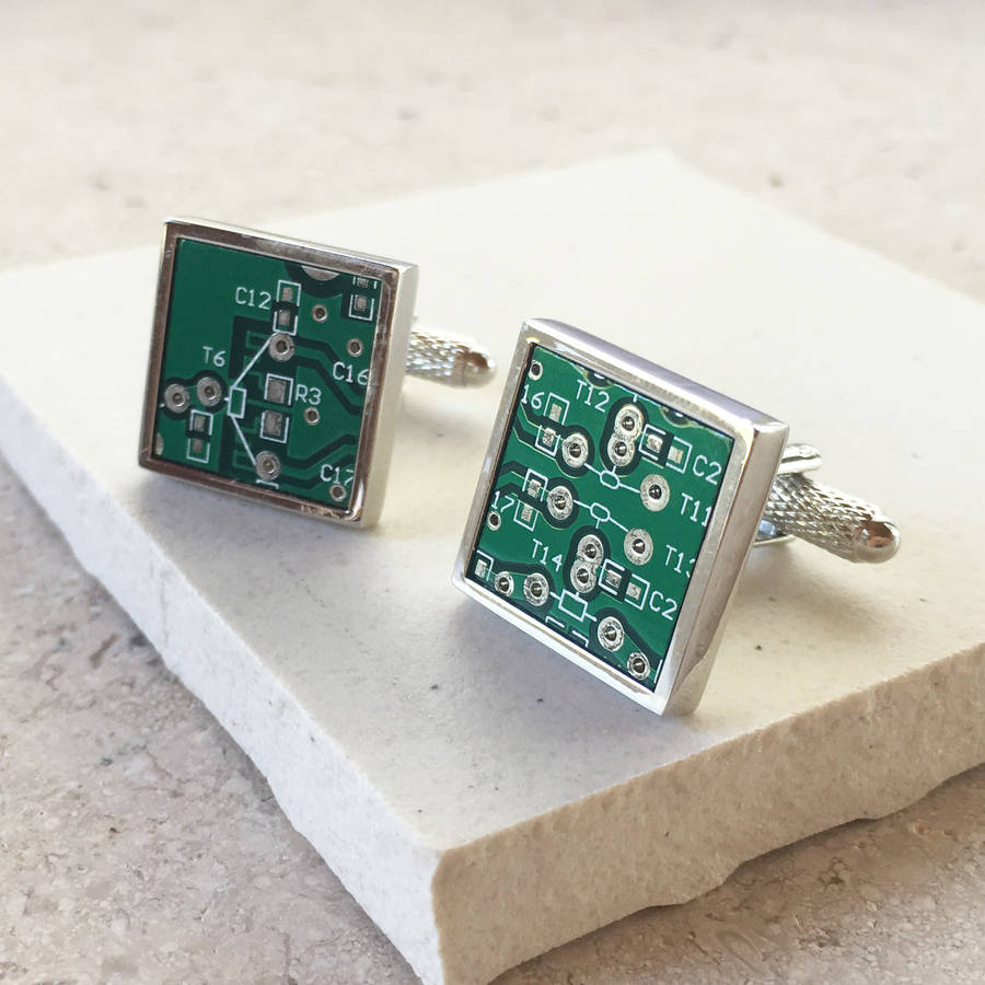 personalised genuine circuit board cufflinks by charlie boots rh notonthehighstreet com