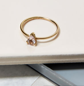 Pear Morganite And 9ct Yellow Gold Solitaire Ring - rings