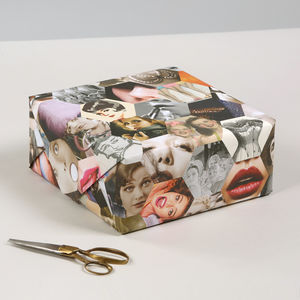 Retro Pinup Girl Luxury Recycled Gift Wrapping Paper - ribbon & wrap