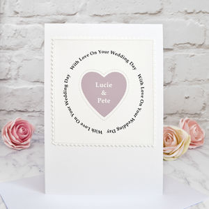 'Heart' Handmade Personalised Wedding Card