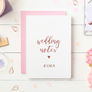 Personalised Wedding Notes Foiled Notebook - notebooks & journals
