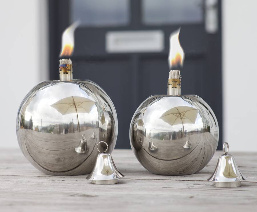 Round Ball Stainless Steel Garden Oil Lamp Three Sizes By