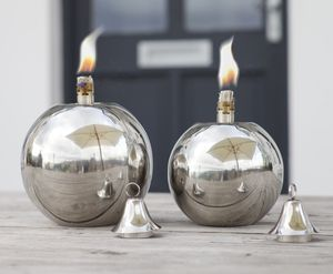 Round Ball Stainless Steel Garden Oil Lamp - garden styling