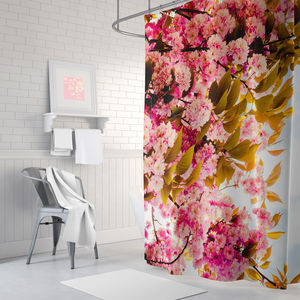 Pink Floral Shower Curtain - bathroom